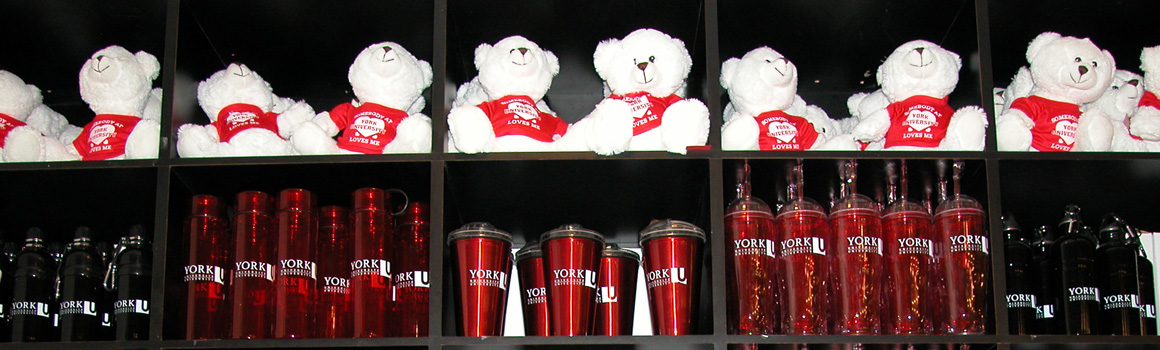 York branded water bottles and stuffed toys